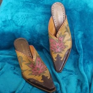 BCBGirls cowgirl boot style leather slide